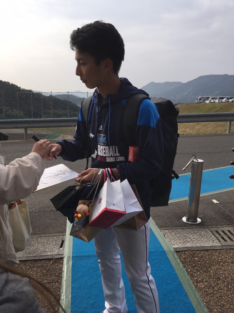 埼玉西武ライオンズ南郷春季キャンプ 森脇亮介投手のサイン